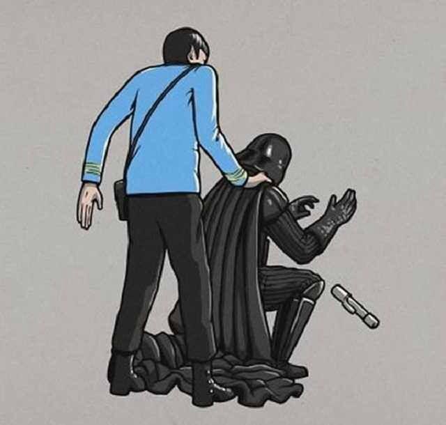 Star Wars Star Trek mash. Spock gets the drop..love this...