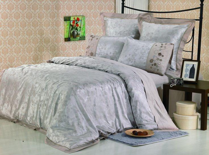 Роскошное шелковое постельное белье, жаккардовое, жаккардовый шелк, Kingsilk арт. sm-3.  Серо-голубого цвета. Размеры, описание, характеристики, низкие цены, скидки, недорого, доставка.