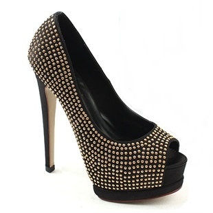 [SHOESONE.BIZ] 1294  Cubic Crystal Satin Black Open Toe Heels (13.5cm)