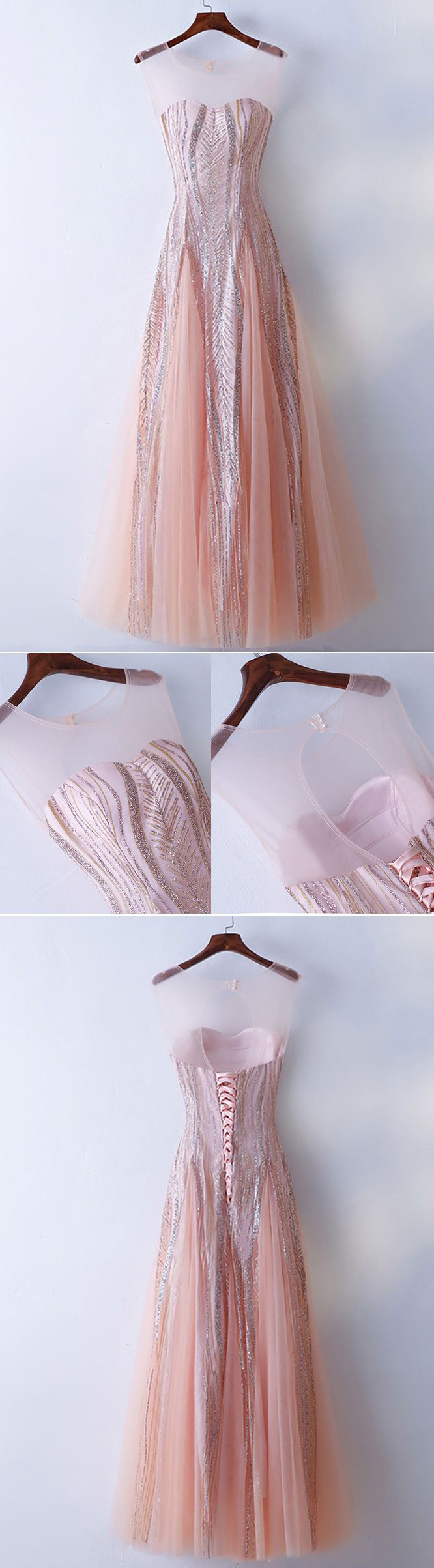 Only $118, Prom Dresses Unique Illusion Neckline Sparkly Pink Prom Dress Long Tulle #MYX18006 at #GemGrace. View more special Prom Dresses,Homecoming Dresses now? GemGrace is a solution for those who want to buy delicate gowns with affordable prices, a solution for those who have unique ideas about their gowns. Get limited $10 off now, free shipping!