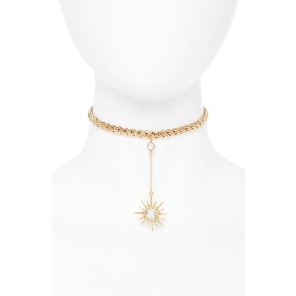 Women's Frasier Sterling Skinny Dip Starburst Choker (330 SAR) ❤ liked on Polyvore featuring jewelry, necklaces, gold, frasier sterling choker, choker necklace, choker pendants, braided choker and chain pendant necklace