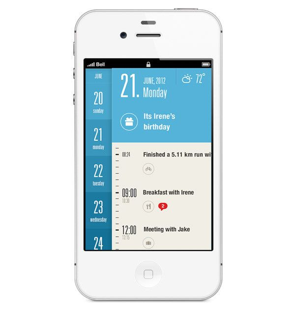 Showcase of Beautiful iPhone App UI Concept Designs in UI / UX / Interface