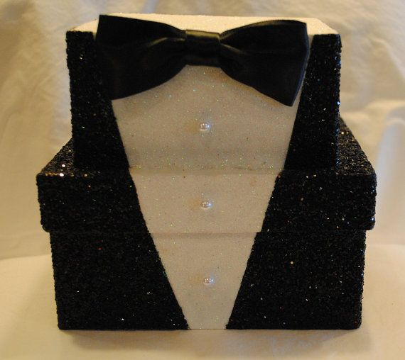 Wedding TUXEDO Gift Box by TheBouncingFrogs on Etsy. What a fantastic way for the Groom to give his Groomsmen their gifts in a cool, keepsake box. Or a bride giving the groom a before wedding present. Such an unusual and fun way to give a gift! $20 #decoratedgiftboxes #handmadegiftboxes #decoratedboxes #weddings #groomsmen https://www.etsy.com/shop/TheBouncingFrogs?ref=hdr_shop_menu
