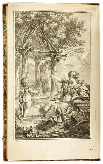 A master of Rococo illustration, Eisen understood perfectly the author's arguments against Rococo ornament in architecture—a capricious stylistic aberration that should be corrected by a return to nature. A winsome goddess of architecture reclines against the ruins of the classical orders and gestures toward a more truthful and authentic structure, a rustic cabin framed by living trees. Laugier applied some of the same reasoning to garden design in the last chapter of this influential…