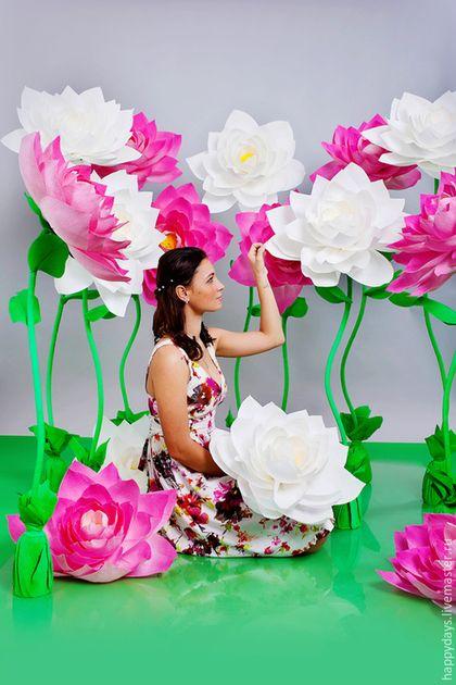 Цветы ручной работы. Заказать Бумажные цветы Лотосы. Ольга (HappyDays). Ярмарка Мастеров. Большие цветы, цветы на свадьбу, президиум