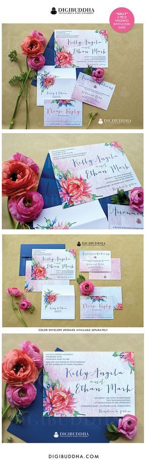 Gorgeous boho chic watercolor floral wedding invitations in a 3 piece suite including RSVP reply card and Accommodations/Info card. Soft pastel ombre backers paired with bold, beautiful rainbow colored florals. Color envelopes, envelope liners and belly bands also available. digibuddha.com