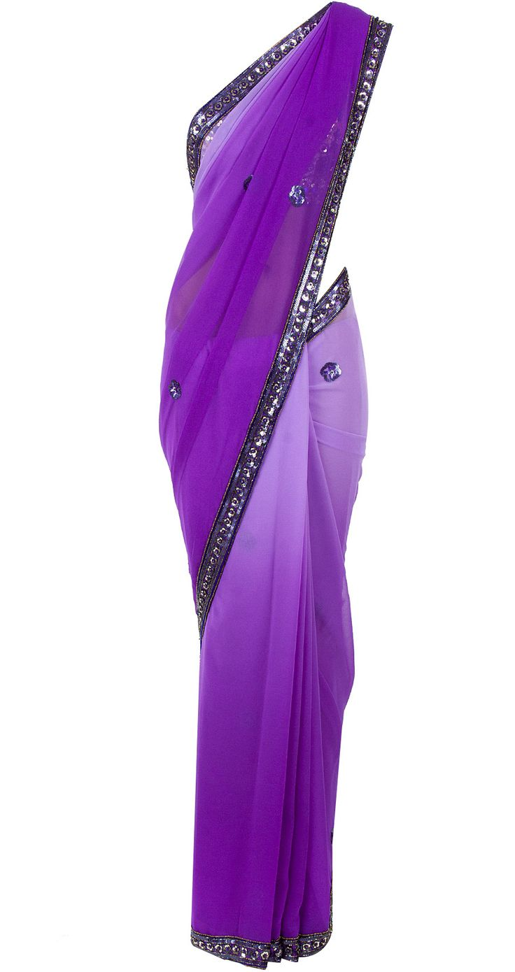 Purple ombre sari with sequinned blouse available only at Pernia's Pop-Up Shop.