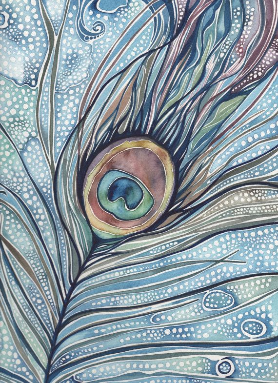 Peacock Feather watercolour print 4 x 6 of detailed hand painted artwork in whimsical rich dark blue green turquoise olive rose earth tones