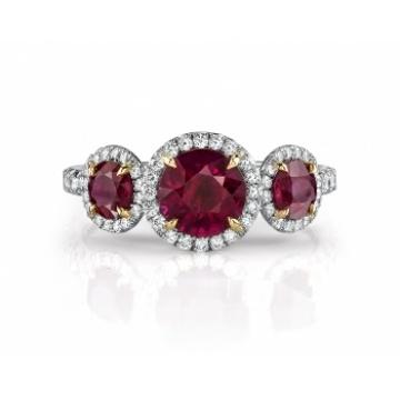 Omi Gems: Ruby and Diamond 3-Stone Ring: Diamond Rings, Ruby Diamonds Rings, Diamonds 3 Stones, 3Stone Rings, Ruby And Diamonds, Engagement Ring, 3 Stones Rings, Jewelry Rings, Diamonds 3Stone
