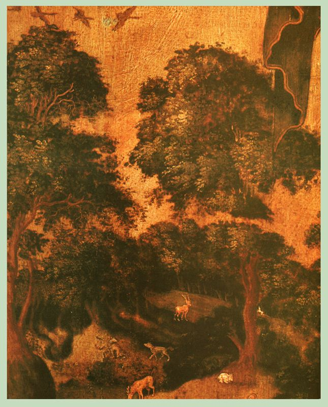 Фрагмент 1689 г.  Тихон Филатьев.  Иоанн Предтеча в пустыне, со сценами жития