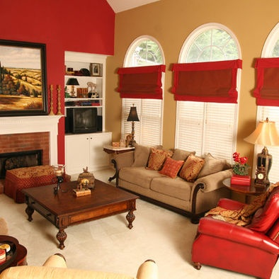 Red Walls Design-two wall colors