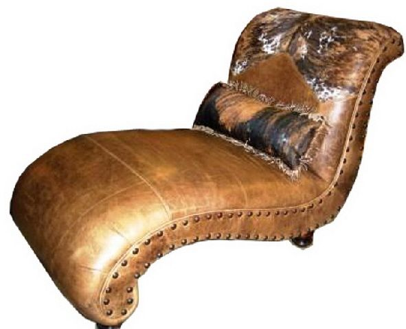 Sidewinder Single Chaise W Pillow ~ Cowhide Western Furniture ~ I Love