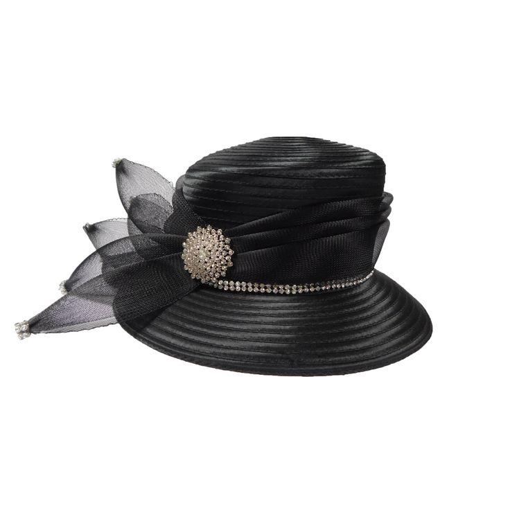 Black Satin Ribbon Church Hat