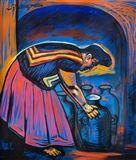 Raul Anguiano - Alfarera con Anfora, 2003, oil on...    EXAMPLE OF A FAKE ANGUIANO ON THE MARKET
