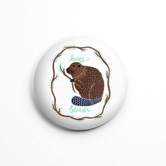 Busy Beaver pinback button/badge cute accessories funny