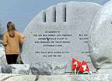 Swissair Flight 111 disaster in 1998... The memorial to the 229 victims in Peggy's Cove, Canada. May they rest in peace.