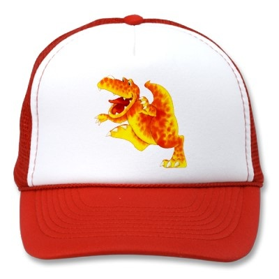 Orange Roar Mesh Hat by Paul Stickland for DinosaurStore on Zazzle #dinosaurs