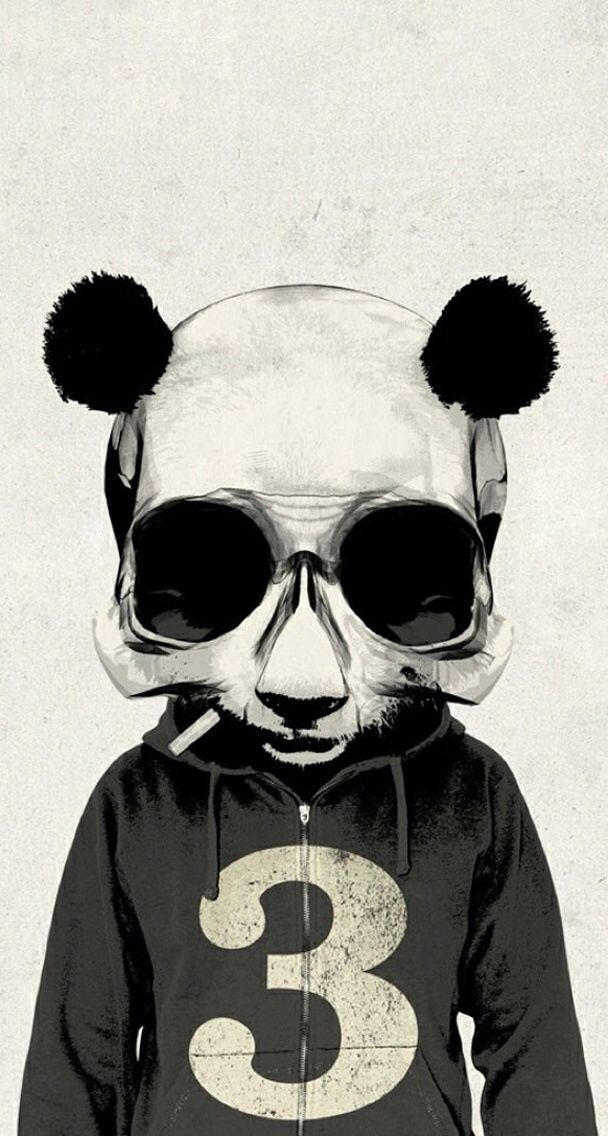 B&W. Panda. Skull. iPhone. Wallpaper.