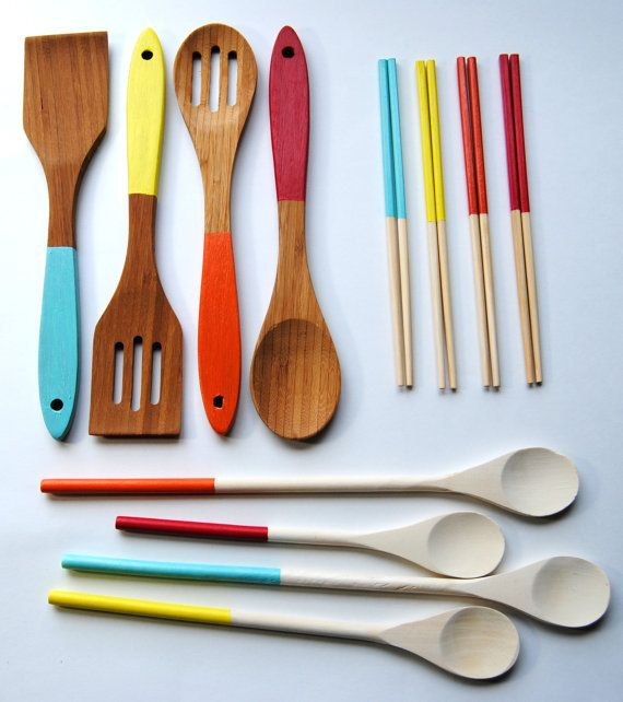 Housewarming Set - Dipped Chopsticks, Cooking Spoons, Bamboo Servers in Hot Air Balloon - Blue, Yellow, Orange, Red on Wanelo