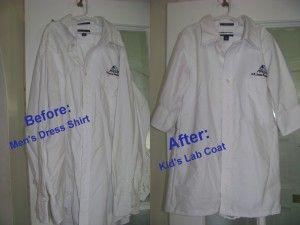 DIY Kids Lab Coat from Men's Shirt