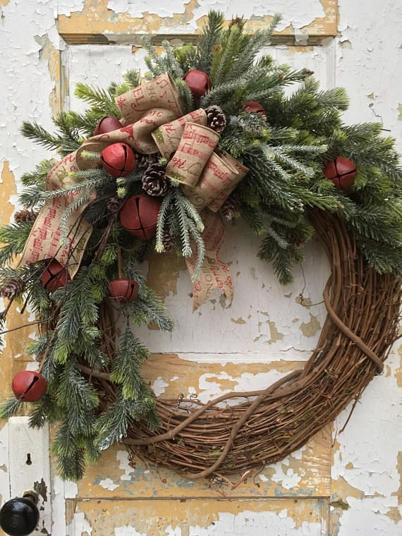 Rustic Christmas Wreath for Front Door Christmas Bell Wreath