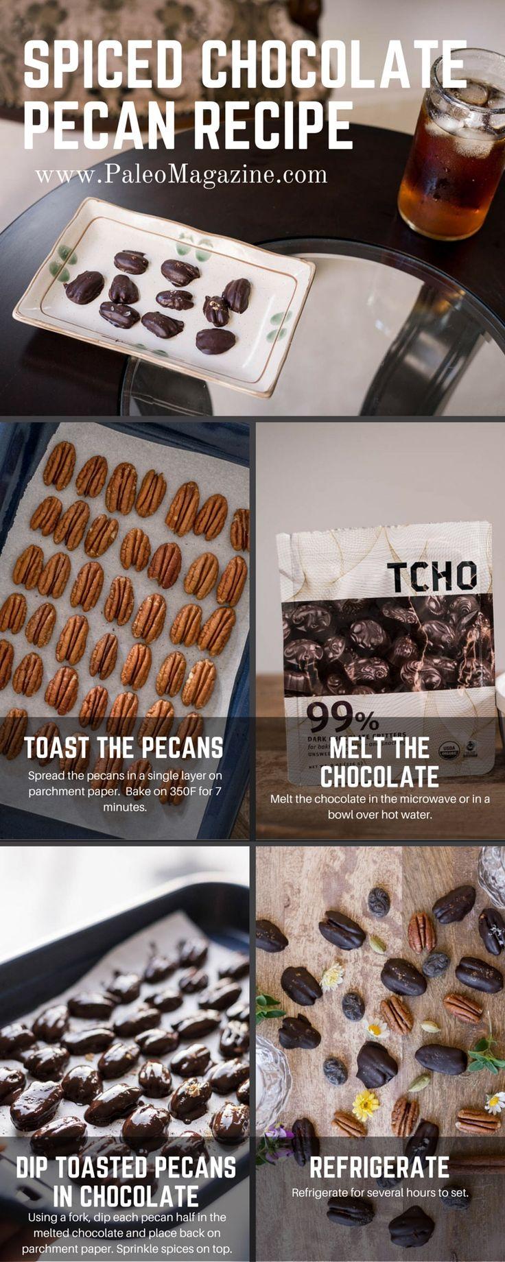 Chocolate Covered Pecans Recipe [Paleo, Keto, Primal, Diabetic-Friendly, Sugar-Free]   http://paleomagazine.com/spiced-chocolate-covered-pecans-recipe-keto-paleo