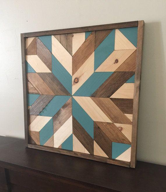 Arte de pared de madera reciclada, madera para la decoración, arte moderno, rústico, granja decoración, estrella de granero con acentos de verde azulado