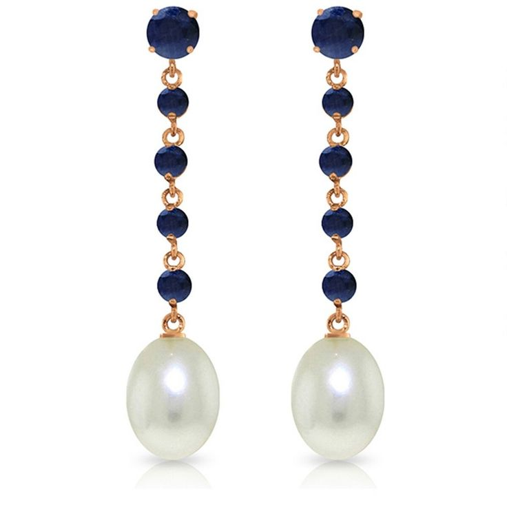 14K Solid Rose Gold 10 Carat Natural Sapphire Pearl Earrings Wt 4.00g H 1.75in #GalaxyGold #Chandelier