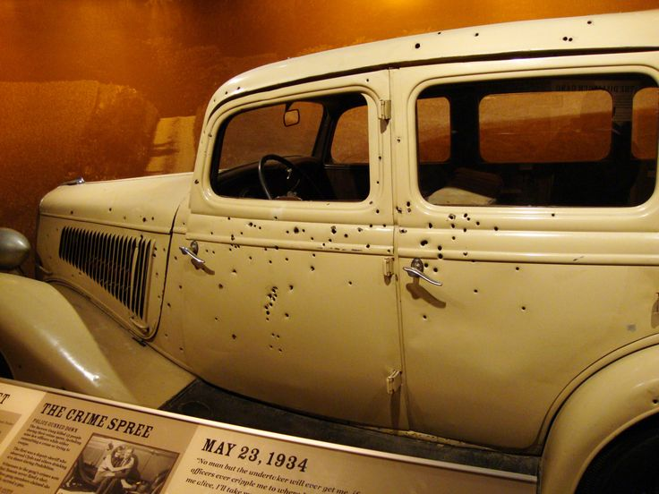 The car in which Bonnie and Clyde died is on display.  Wow... this gives me chills.