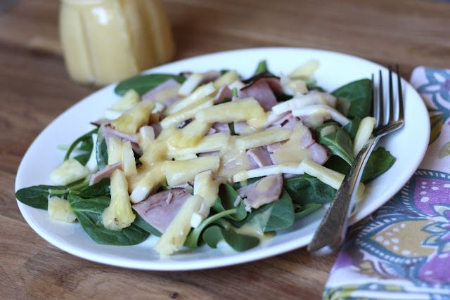 Hawaiian Salad with Pineapple Balsamic Salad Dressing recipe by Barefeet In The Kitchen