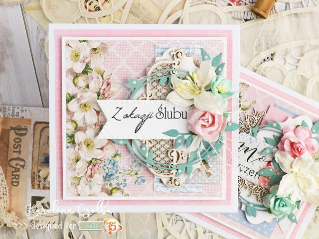 Wedding card in pink shades with Scrapiniec chipoards and Studio75pl papers. cardmaking, handmade cards,