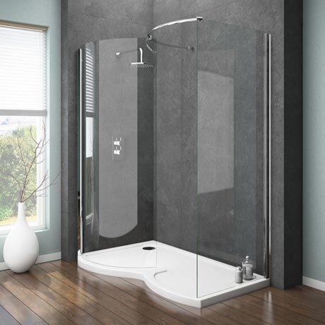 Ventura Curved Walk In Shower Enclosure With Tray   L Hand