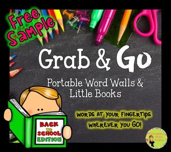 """Free! Grab & Go: Portable Word Walls and Little Books Sample of the School EditioncelebratefreebieThese portable word walls are very versatile. Everything available in color and black and white!See my blog posts to see """"Grab & Go"""" in action!See the school pack in action here and the shark pack in action here."""