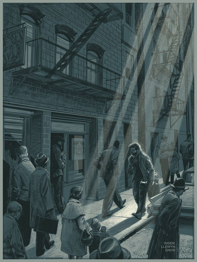 Illustrated poster for Inside Llewyn Davis by Rich Kelly