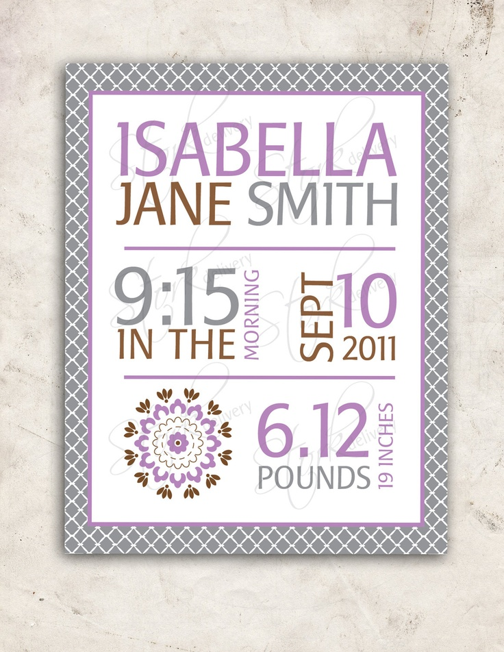 Dahlia Baby GIrl Nursery Wall Art Purple Grey Birth Stats Poster PRINT