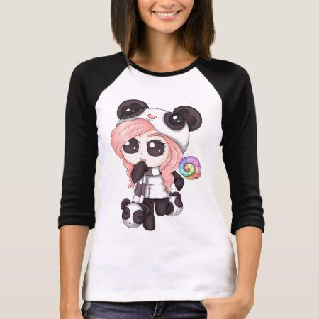 Cute Rainbow Anime Panda Girl T-Shirt - click/tap to personalize and buy