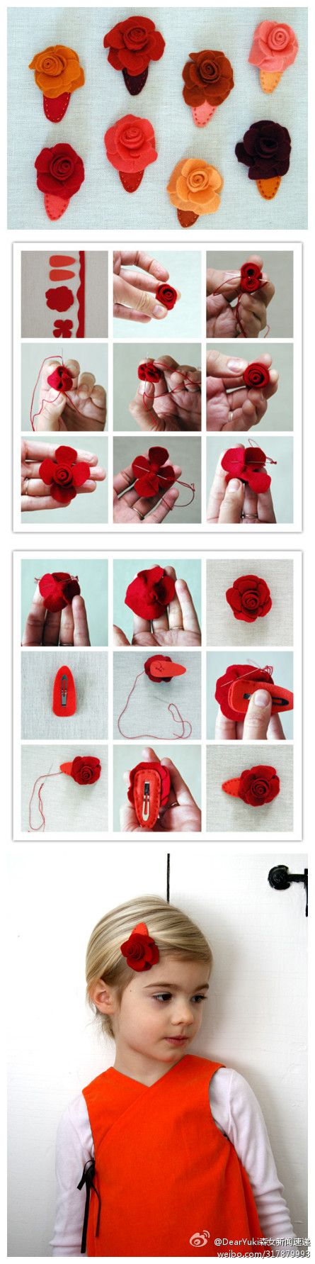 diy felt flower hair clip