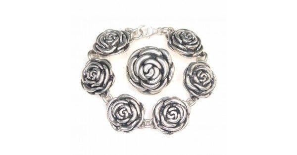 Set bijuterii argint - bratara si pandant - trandafiri