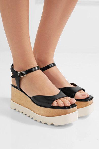 Stella McCartney - Faux Leather Platform Sandals - Black - IT39.5