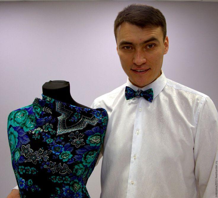 Купить Галстук-бабочка русский стиль (5) - павловопосадский платок, пейсли, одежда из платков