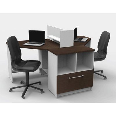 TeamCENTERoffice Triangular Corner 4 Piece L-Shaped Desk Office Suite