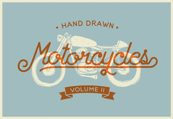 Vintage Hand drawn Motorcycle Vol. 2 by dreamwaves on @creativemarket