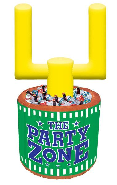 inflatable cooler with yellow goal post coming from the top to play a game with the included inflatable football