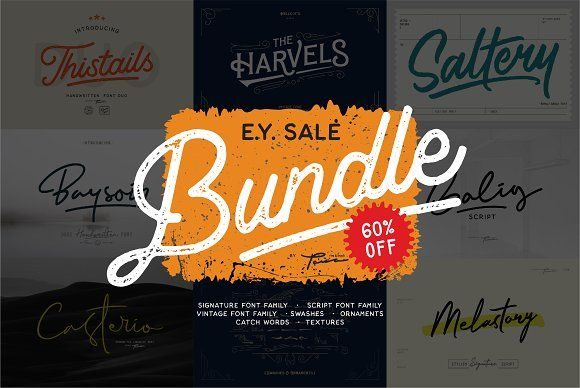 Holiday Sale Bundle 60 Off By Pana Type Studio On Creativemarket Font Bundles Signature Fonts All Fonts