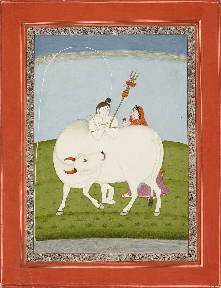 """Shiva as Gangadhara (Bearer of the Ganges) c.1830. Indian School, Pahari style (via The Royal Collection Trust) Painting of the river Ganges spouting from Shiva's topknot having been held safely in his head. Parvati offers a small green..."