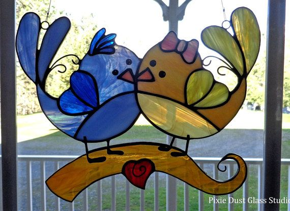 Stained Glass Suncatcher Whimsical Love Bird Couple Window Hanging Stained Glass Bird Sweethearts Valentine Anniversary Wedding Stained Glass Stained Glass Birds Glass Birds