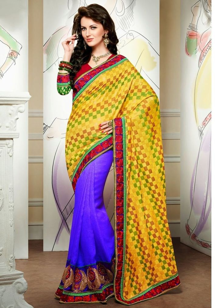 Be Your Very Own Fashion Diva With This Bluish Purple & Yellow Jute Silk Saree. The Butta Work,Checkered Decorative Printed,Lace,Resham,Stones Work Looks Chic And Ideal For Any Occasion.