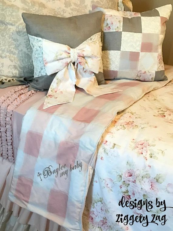 Twin Girls Bedding Floral with Buffalo Check and Ruffled Skirt  I am paying half of the shipping fee  Surround your child with Beautiful Ruffles and pretty prints This Custom Bedding is full of upgrades that create a dramatic look. It includes ALoT of yardage, Extra detail and is made