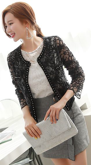 StyleOnme_Pearl Trim See-through Floral Lace Jacket #floral #lace #elegant #feminine #jacket #koreanfashion #kstyle #kfashion #dailylook