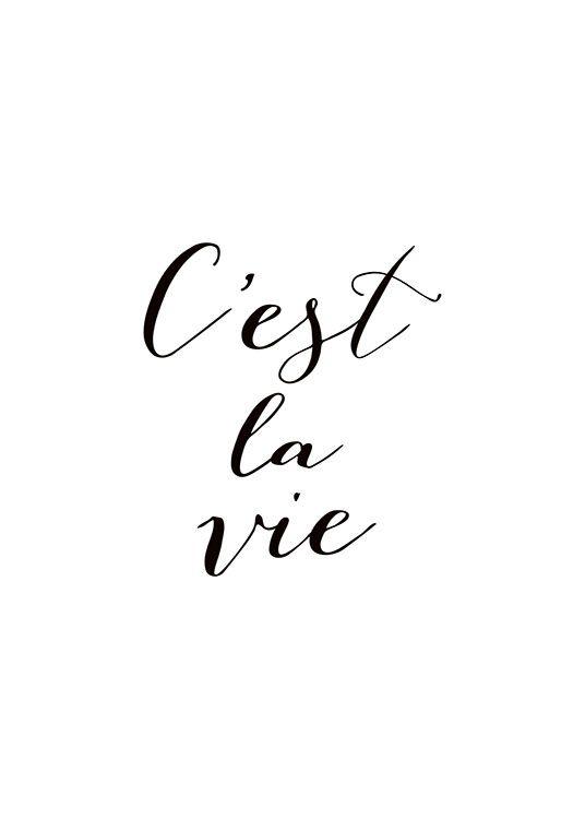 Stilvolles Poster mit französischem Zitat.